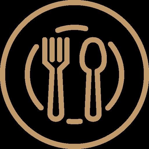 Icono de plato con tenedor y cuchillo